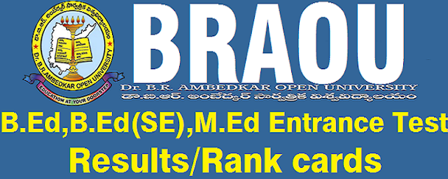 BRAOU, BEd, MEd entrance test Results,Rank cards