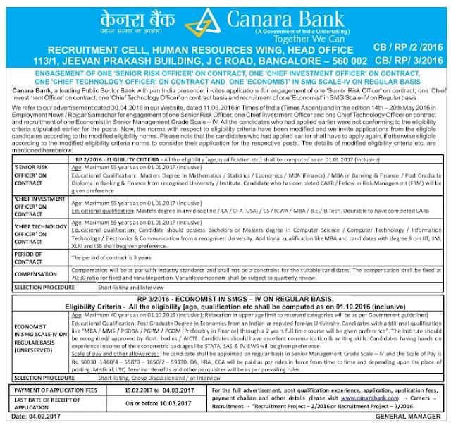 Canara Bank Recruitment 2017