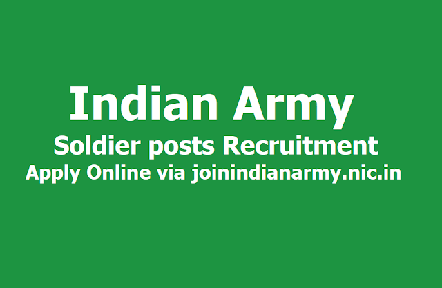 Indian Army Soldier posts Recruitment 2019, Apply Online via joinindianarmy.nic.in