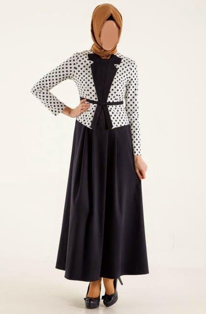 Desain Baju Muslim polka set blazer wanita