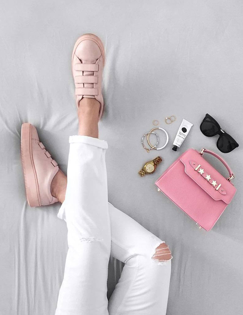 pink + white outfits