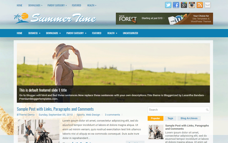 SummerTime Free Blogger Template