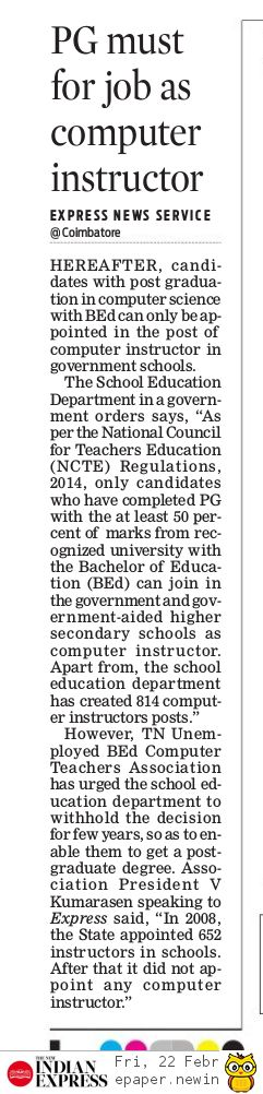 PG must for job as Computer Instructor.. source:Indian Express Kovai