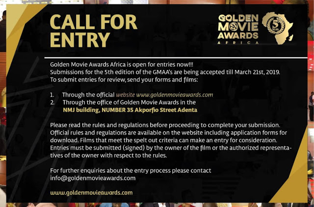 Golden Movie Awards Africa 2019 Calls For Entry - Process Open Till March 21st