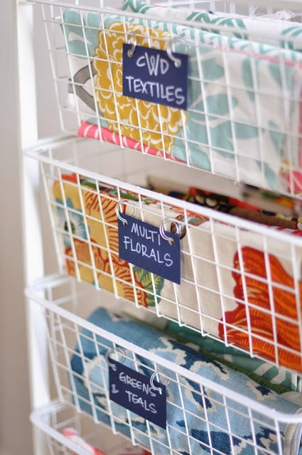 organize fabric in wire bins