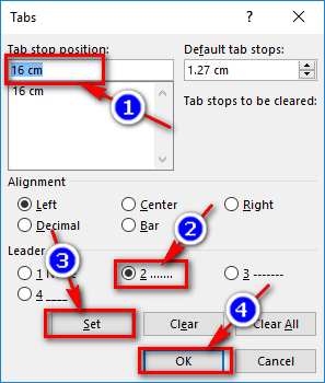 Dùng phím Tab tạo dòng nhiều dấu chấm (.................)