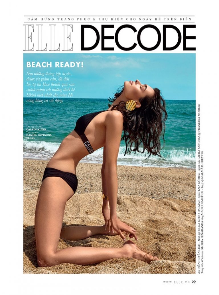 Laura Sanchez hits the beach for the July 2018 issue of ELLE Vietnam