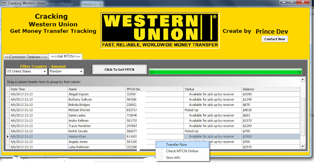 WELCOME TO JOINT HACKERS: Western Union Database hacking software