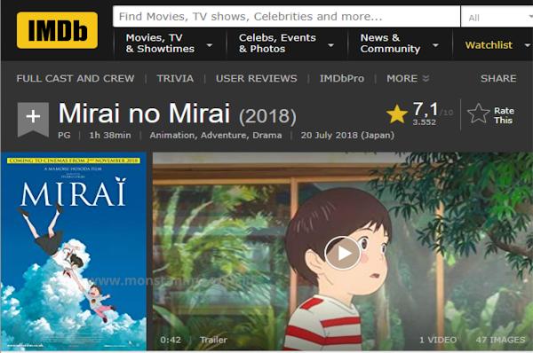 Review Ulasan Anime Mirai 2018, Kisah Bocah Kecil Yang Mempunyai Adik Baru