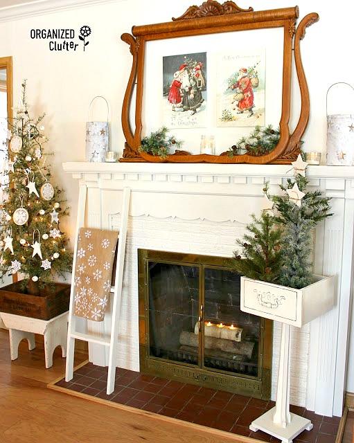 2016 Christmas Mantel with Vintage Dresser Mirror Frame