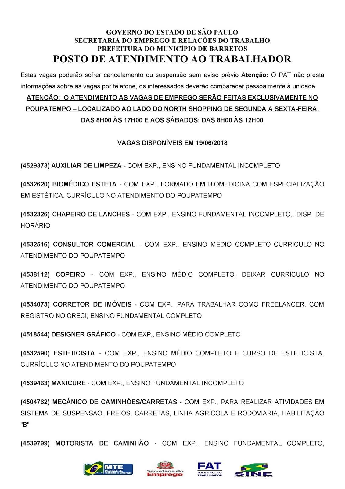 VAGAS DE EMPREGO DO PAT BARRETOS-SP PARA 19/06/2018 TERÇA-FEIRA - PARTE 1