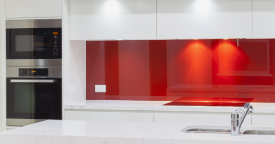 Transform your kitchen with our colourful glass splashbacks