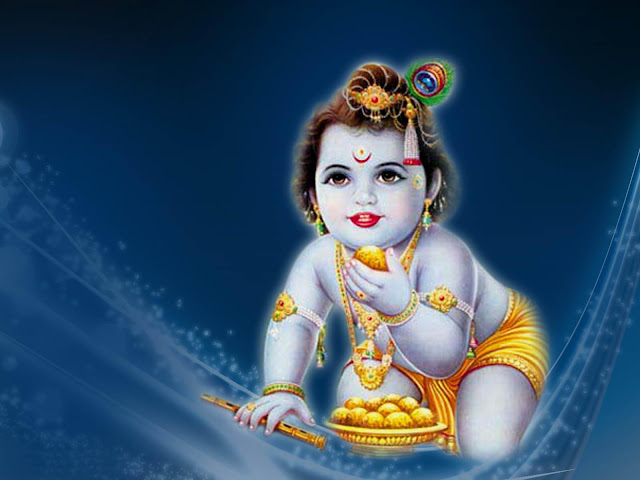 Best Bal Krishna  Wallpaper In Blue Background