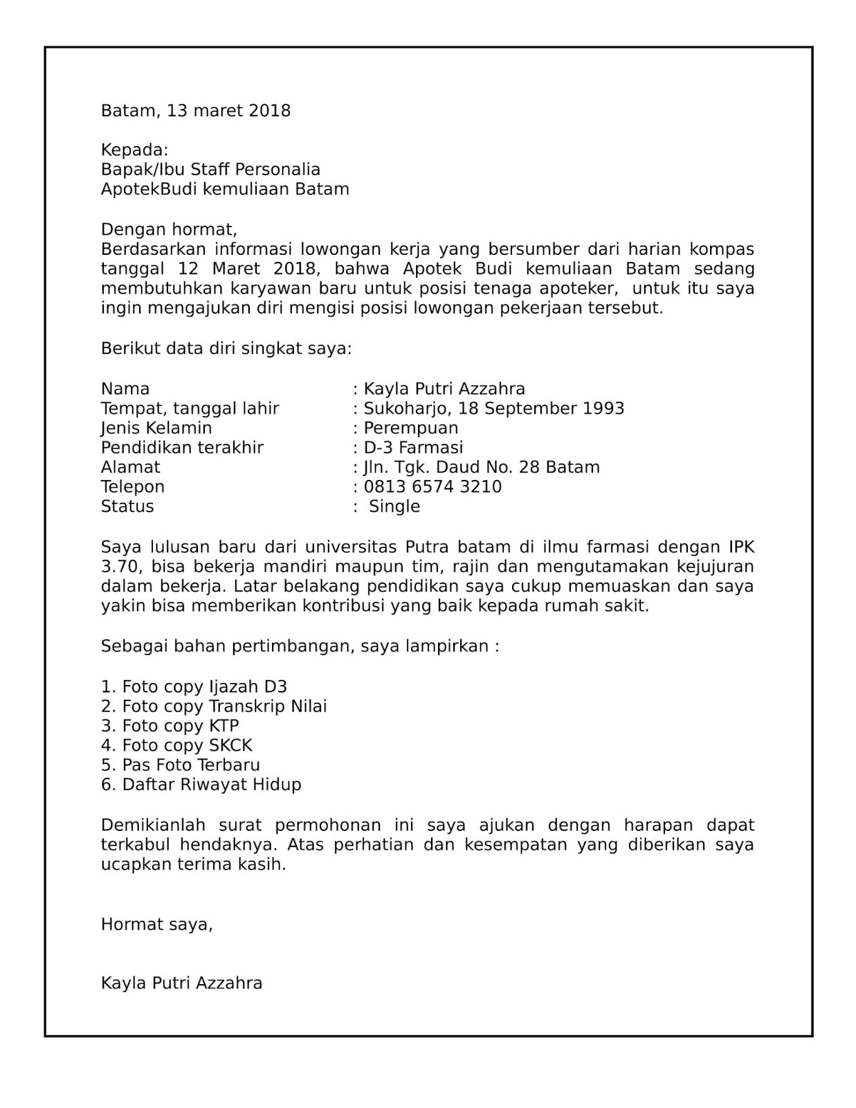 Contoh Surat Lamaran Kerja Apoteker Terbaru Contoh Surat