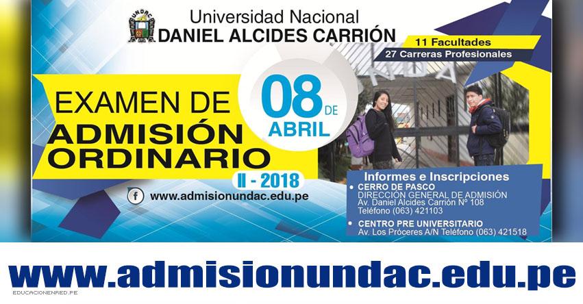 Resultados UNDAC 2018-2 (8 Abril) Ingresantes Examen General Admisión Ordinario - Universidad Nacional Daniel Alcides Carrión | www.admisionundac.edu.pe | www.undac.edu.pe