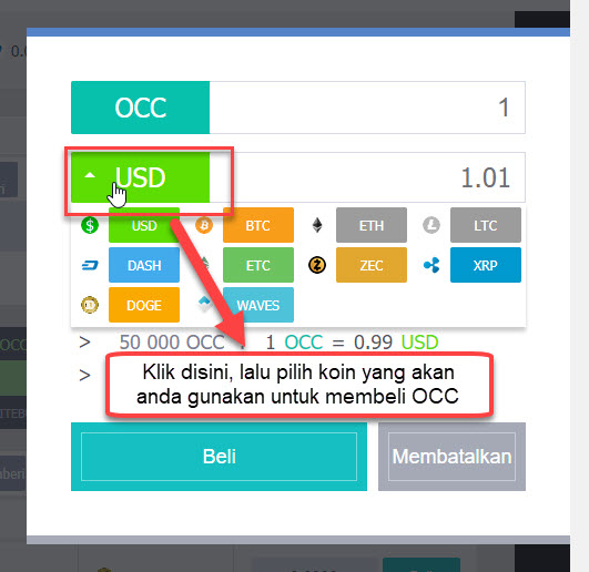 cara menukar koin OCC