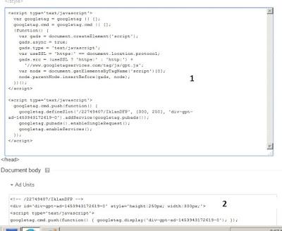 Ambil kode iklan google dfp