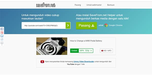 Situs Download Video YouTube Gratis, Savefrom.net