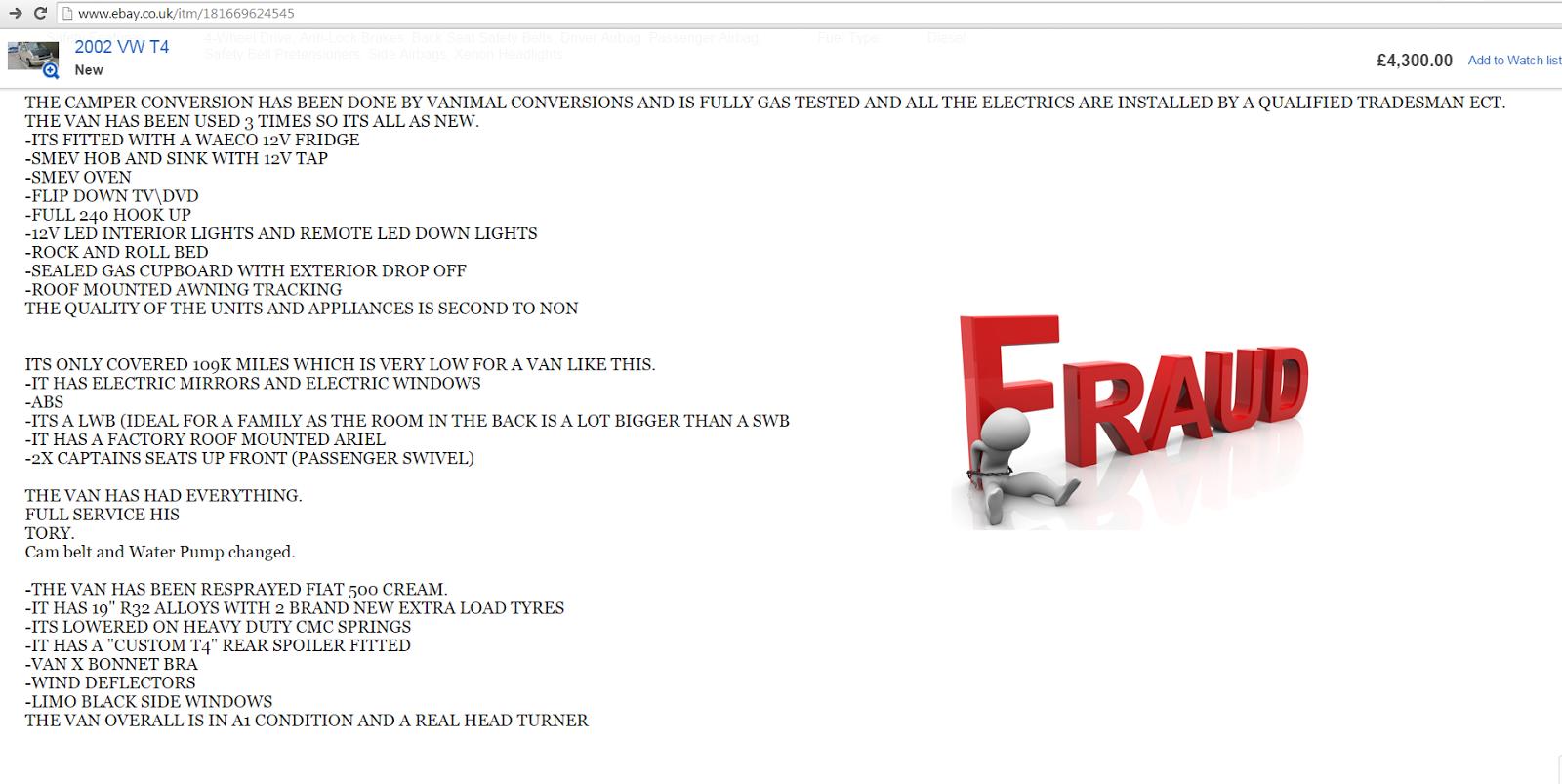 Ebay Scam Vw T4 Campervan Beige Me02ycf Fraud Me02 Ycf 18 Feb 15 Jack Buster Jack