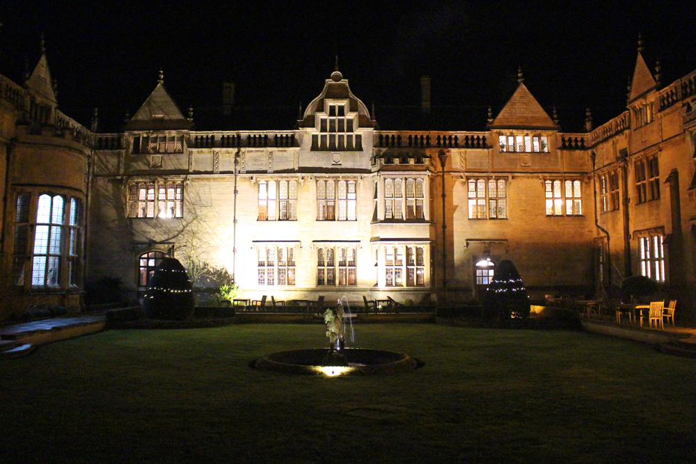 Rushton Hall hotel at night, Northamptonshire - UK luxury travel blog