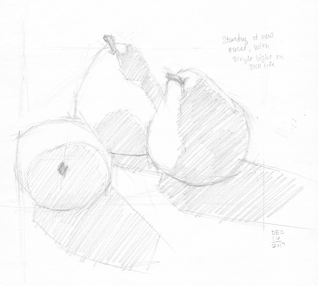 Daily Art 12-16-17 still life sketch in graphite number 73 - trio of pears