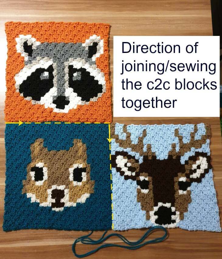 Joining first 3 c2c blocks together - Wildlife Graphghan