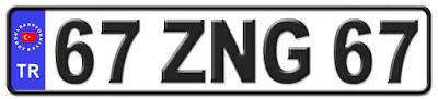 Zonguldak il isminin kısaltma harflerinden oluşan 67 ZNG 67 kodlu Zonguldak plaka örneği