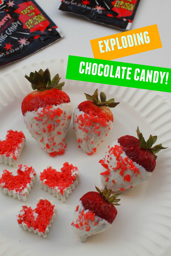 "Make Your own Exploding Candy- Super easy and fun recipe where chocolate ""explodes"" in your mouth!"