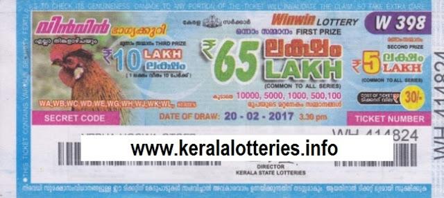 Kerala lottery result of Winwin-W-396