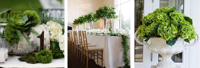 Natural Green Wedding Centerpieces