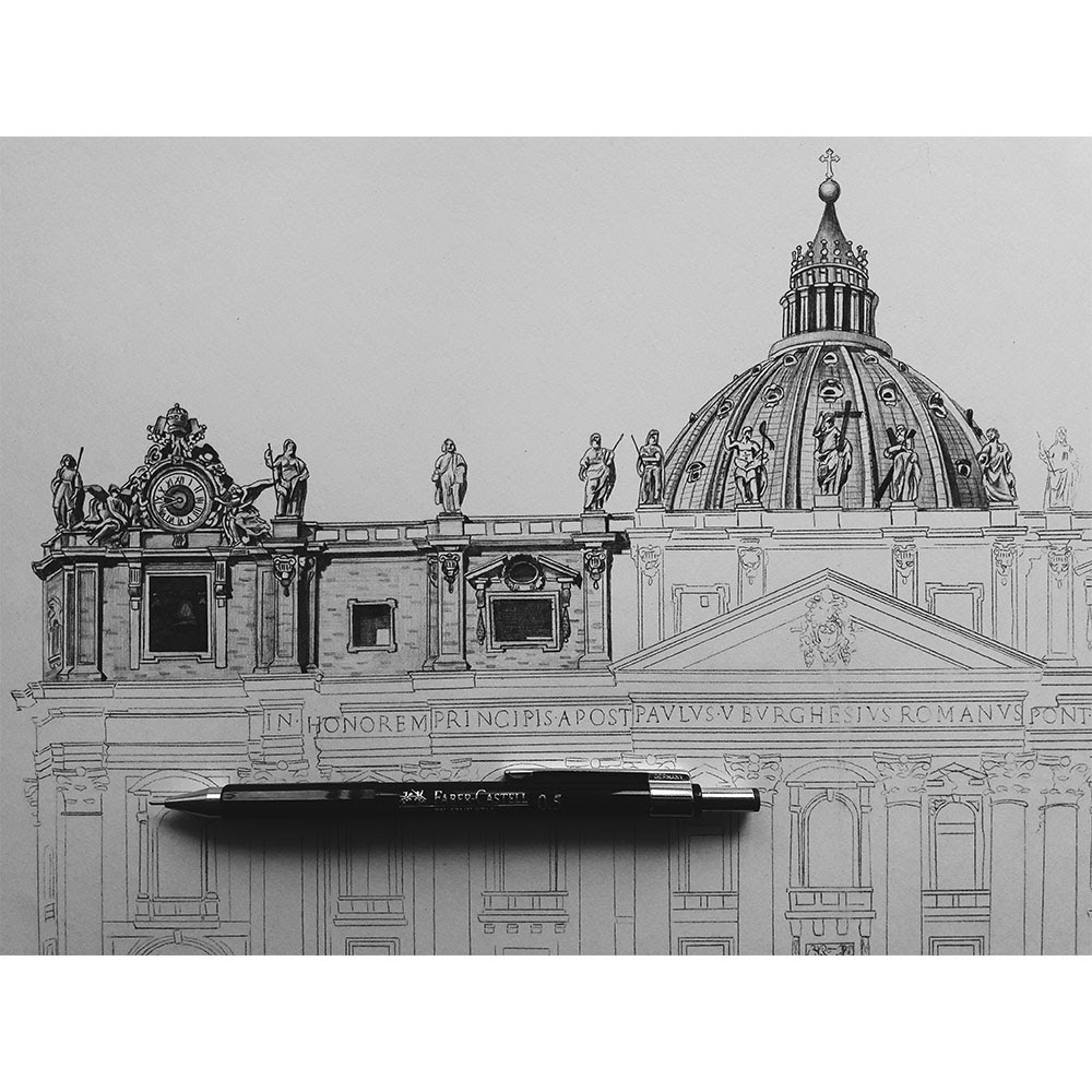 04-St-Peter-s-Cathedral-Rome-Italy-WIP-Elizabeth-Mishanina-Architecture-Immaculate-Drawing-Technique-www-designstack-co