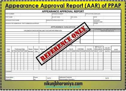 Appearance Approval Report (AAR) in PPAP