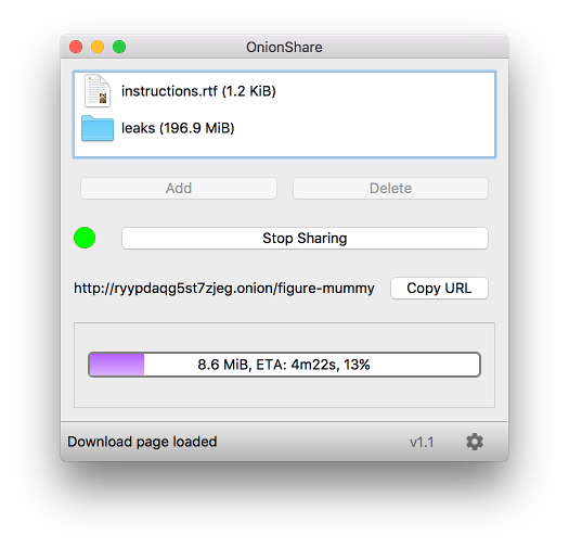 OnionShare - Securely and anonymously share a file of any size