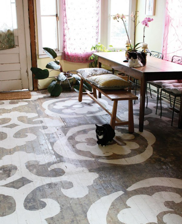 Pros and Cons of hardwood, stenciled floor