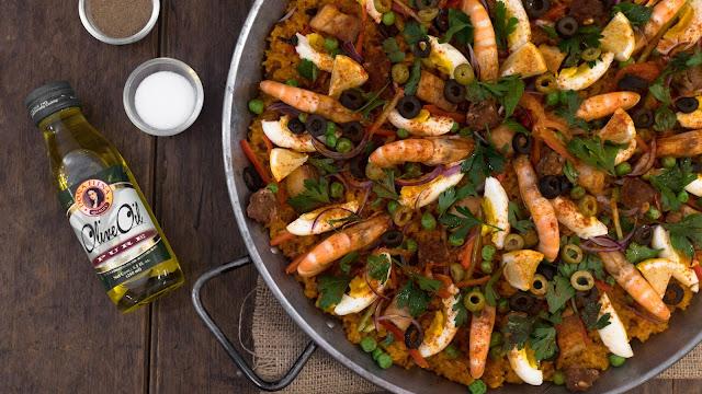 Quezon Restaurant's Paella Rice using DE Pure Olive Oil