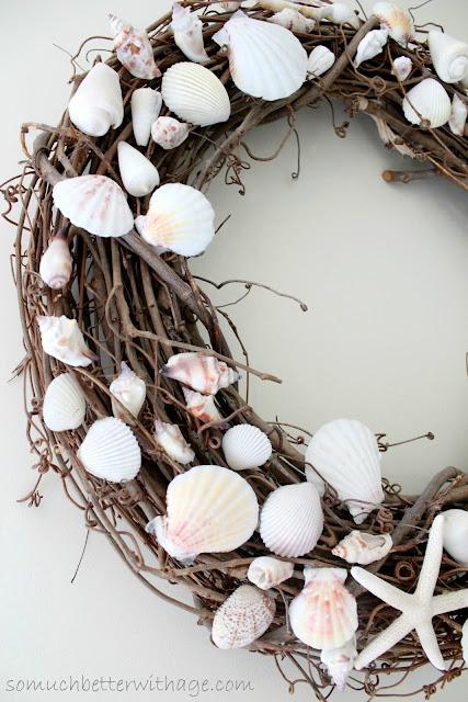 Shell wreath  www.somuchbetterwithage.com