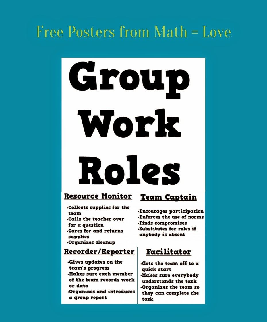 Math Love Posters of Group Work Roles – Middle School Math Teacher Job Description
