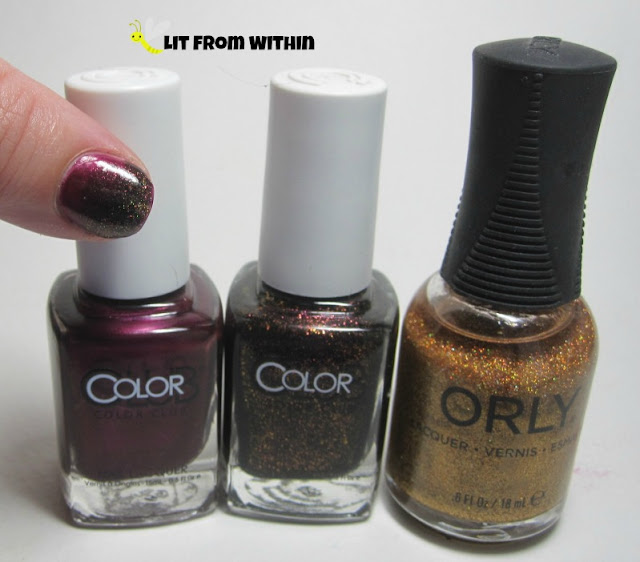 What I used:  Color Club Apple Of My Eye, Color Club Fierce, and Orly Bling.