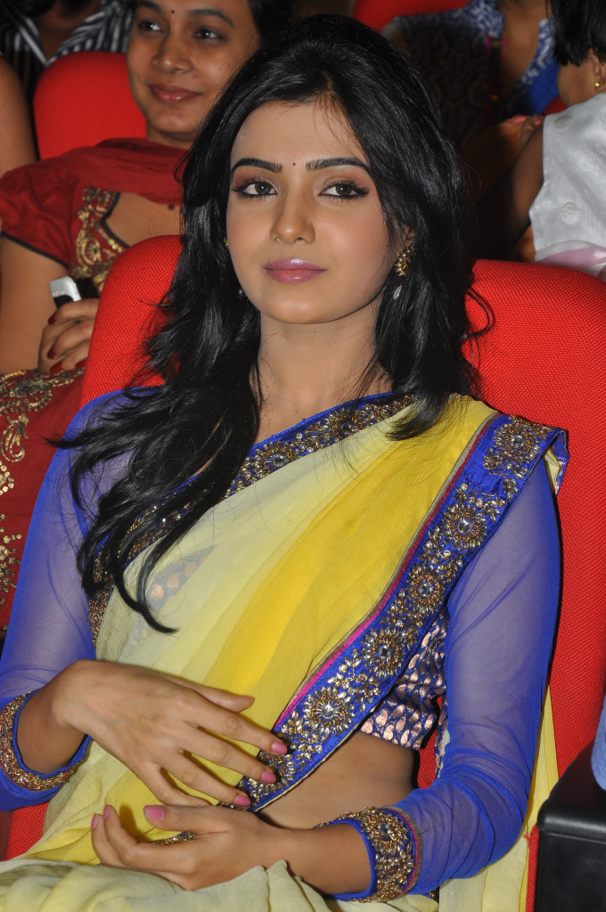 Cute and exotic samantha in half yellow saree at award function hq images gallery