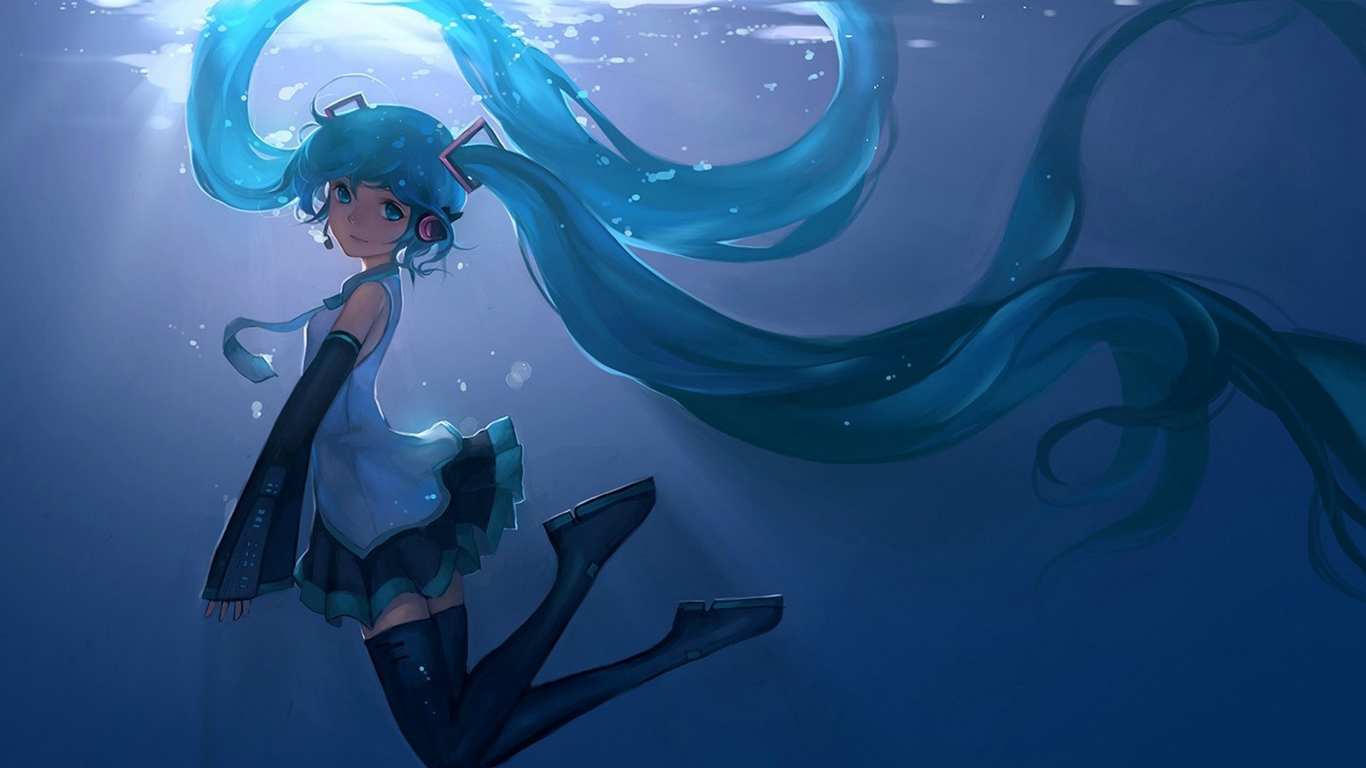 Hatsune Miku Anime Girl Underwater Animated Wallpaper