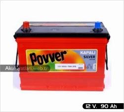 povver akü tam kapalı silver serisi 12 volt 90 amper