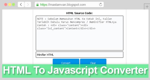Tools HTML to Javascript Converter