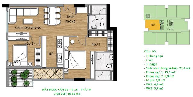 Căn hộ B3 diện tích 66,28 m2 tầng 4-15 Valencia Garden
