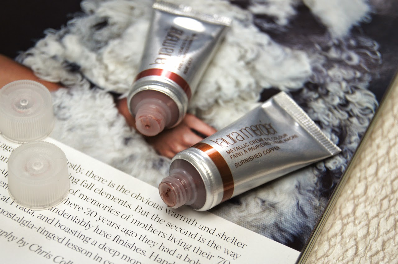 laura mercier metallic creme eye colour rose gold burnished copper review swatches