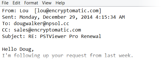 An Outlook email message saved as a text file by MessageExport add-in, displaying the email header information.