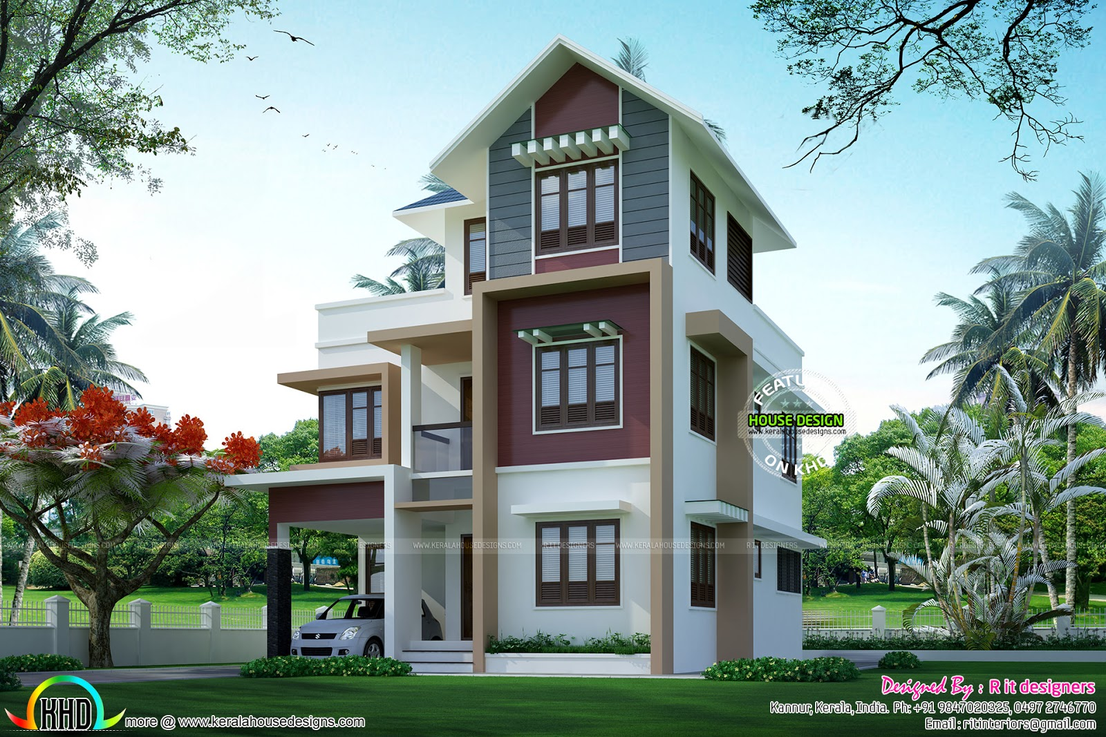 Small plot double floor house architecture kerala home for Kerala home designs photos in double floor