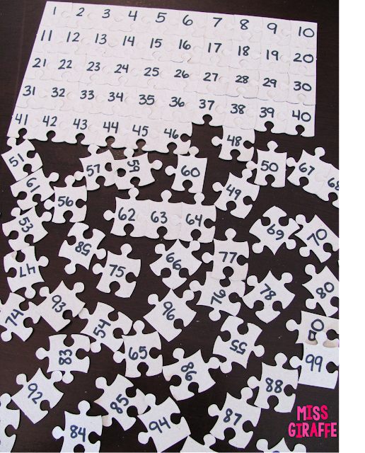 Use a 100 piece puzzle from the dollar store to create  super easy numbers math activity to practice counting to 100