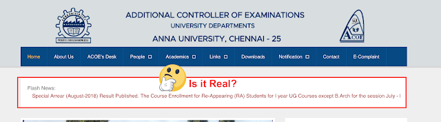 Anna University Special Exam Results only published for University Departments