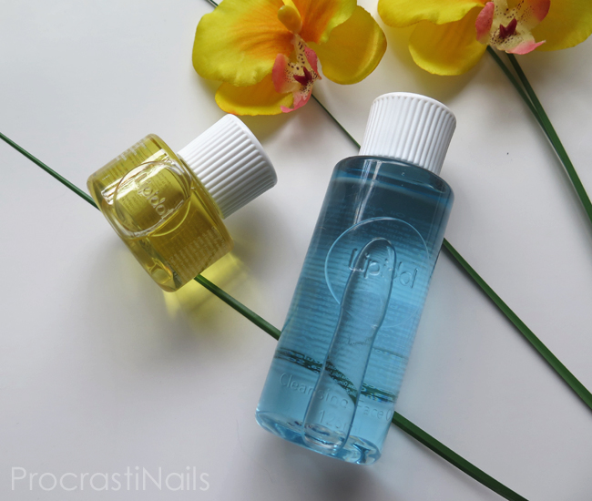 Lipidol Cleansing Face Oil and Overnight Face Oil with yellow orchids