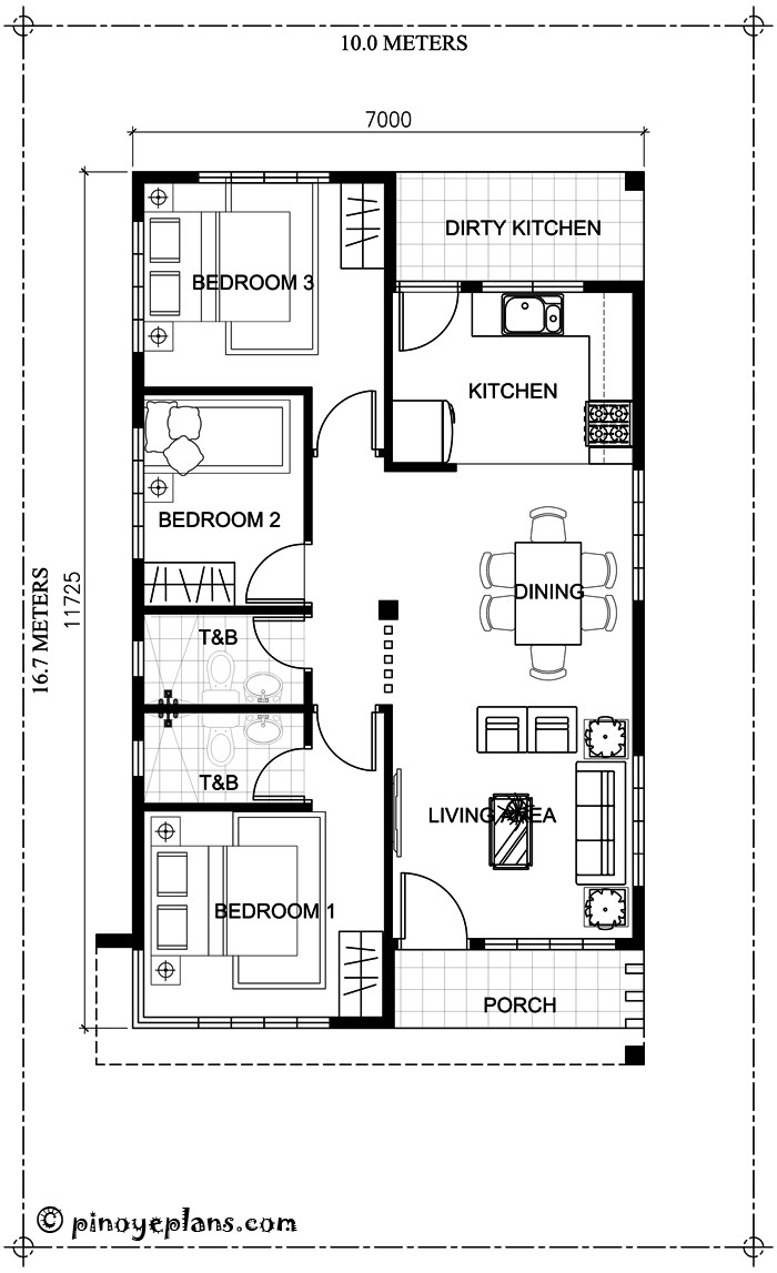 3 BEDROOM HOUSE PLAN WITH TOTAL FLOOR AREA OF 80 SQUARE